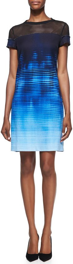 AudreyHepburnesque....Elie Tahari Cassie Mesh-Top Venue on Canvas-Print Dress is on sale now for - 25 % !