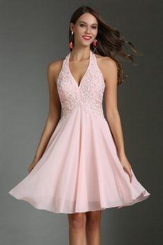 3948b430d2a Robe rose perle halter appliquée de dentelle pour cocktail de mariage