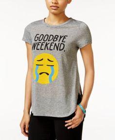 2 Kuhl Juniors' Weekend Emoji Side-Slit Graphic T-Shirt