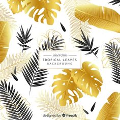 Black and golden tropical leaves background free vector Golden Background, Leaf Background, Christmas Background, Lights Background, Textured Background, Elegant Business Cards, Yellow Leaves, Sketch Inspiration, Motif Floral