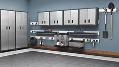 Gladiator® RTA package: Gladiator® tall cabinets, wall cabinets, GearTrack® channels, metal shelves, hooks, mesh basket and ball caddy