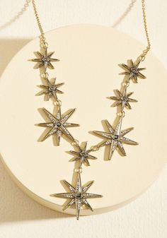 Wish Upon a Starburst Necklace - Gold, Rhinestones, Prom, Wedding, Party, Cocktail, Girls Night Out, Holiday Party, Homecoming, Cosmic, Winter, Better, Sparkly2015, Cosmic Gifts