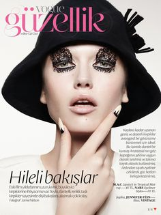 gorgeous makeup looks on Anastasia Bondarenko in Vogue Turkey, February 2013 edition. A little mod, a little surrealism, and a little tribal all combine for a super trendy shoot captured by photographer Jamie Nelson with makeup by Ido Raphael Zadok