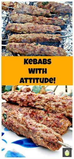 Kebabs With Attitude! These are a spicy, moist kebab, full of flavor and perfect for grilling! Ground turkey/chicken (or maybe even lean organic grass fed beef) Grilling Recipes, Meat Recipes, Cooking Recipes, Greek Recipes, Indian Food Recipes, Skewer Recipes, Good Food, Yummy Food, Bbq Meat