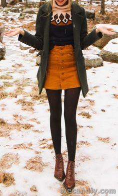 Snowy winter look - fashion - # snowy # . - Snowy winter look – fashion – # … – - Winter Skirt Outfit, Fall Winter Outfits, Autumn Winter Fashion, Spring Outfits, Fall Skirt Outfits, Winter Clothes, Winter Outfits With Skirts, Gamine Winter Outfits, Winter Dresses