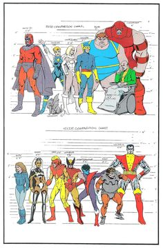 An X-Men size comparison chart. Beast and Colossus were my favorites when I was a kid. I liked Blob too: I loved stuff like Hulk versus Blob, freak versus freak. It couldn't be wild enough. Comic Book Artists, Comic Book Characters, Marvel Characters, Comic Books Art, Comic Art, Marvel Comics, Arte Dc Comics, Marvel Heroes, Marvel Cyclops
