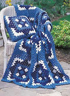 Free Blue Motif Crochet Blanket Pattern