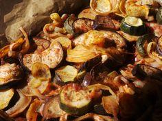 Oven Baked Vegetables, Briam, Fitness Diet, Vegetarian Recipes, Stuffed Mushrooms, Paleo, Greek, Meals, Baking