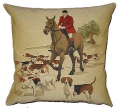 Huntsman & Hounds Left - Tapestry Cushion Cover