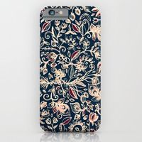 iPhone 6 Cases featuring Navy Garden - floral doodle pattern in cream, dark red & blue by micklyn