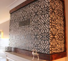 Combined with handmade burned wood finish, our laser cut metal panel brings warmth and comfort to living room.