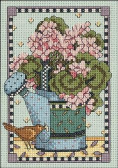 WATERING CAN GERANIUMS counted cross stitch kit ~ Debbie Mumm RARE