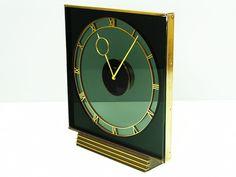 ART DECO BAUHAUS GLASS DESK CLOCK KIENZLE HEINRICH MOELLER GERMANY