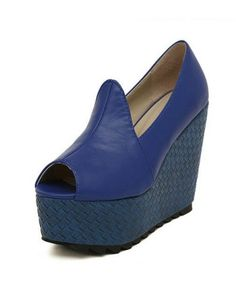 Peep Toe Platform Sandals in Blue - Heels Sandals - Sandals - Footwear