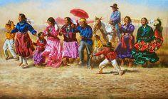 Alfredo Rodríguez -Excitement at the Navajo Horse Race American Indian Art, Native American Indians, Native Americans, Navajo Language, Navajo Art, Westerns, Navajo Nation, Aboriginal Art, Native American Art