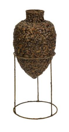 """Leonore Large Woven Vase With Stand - The Large Leonore vase is woven from water hyacinth and features an iron stand. Material: 80% Water Hyacinth, 20% Iron. 21.5""""h x 13.5""""d."""