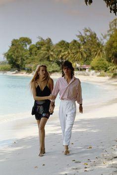 Jerry Hall et Mick Jagger à l'île Moustique