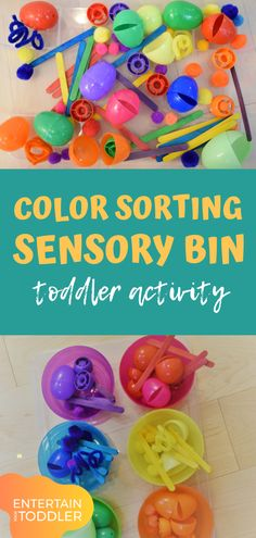 Color Sorting Sensory Bin Activity Toddlers Will Love! <br> This color sorting sensory bin is full of bright colors! Your toddler or preschool child is sure to love sorting and playing with all the different colors! Sensory Activities Toddlers, Preschool Learning Activities, Indoor Activities For Kids, Baby Sensory, Sensory Bins, Sensory Play, Infant Activities, Toddler Preschool, Teaching Toddlers Colors