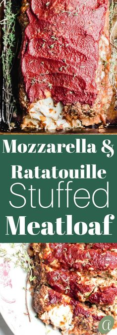 Veggie loaded tender meatloaf stuffed with yummy rich tomato ratatouille and ooey gooey mozzarella cheese Meatloaf has officially been upgraded meatloaf. Fun Baking Recipes, Kitchen Recipes, Real Food Recipes, Cooking Recipes, Yummy Recipes, Free Recipes, Healthy Meatloaf, Meatloaf Recipes, Cheese Stuffed Meatloaf