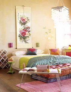 Stylish bedroom with many colors