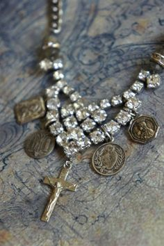 Charmed Life-Vintage assemblage necklace by frenchfeatherdesigns