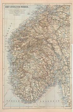 1898 South Norway Antique Map 115 Years Old by CarambasVintage
