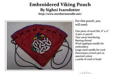 How to Make an Embroidered Viking Pouch (pdf to download), By Sighni Ivarsdotter