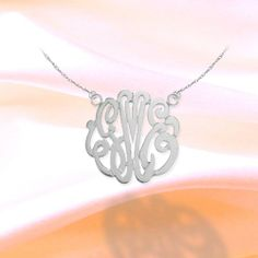 Monogram Necklace 3/4 inch Sterling Silver Handcrafted Cutout Personalized Initial Necklace - Made in USA