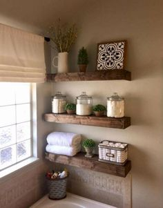 47 Comfy Farmhouse Bathroom Decor Ideas With Rustic Style is part of Small bathroom decor Farmhouse bathroom accessories can be ideal for adding decoration in addition to practicality Decorating yo - Living Room Candles, Bathroom Shelf Decor, Bathroom Organization, Bath Decor, Bathroom Cabinets, Decorating Bathroom Shelves, Farmhouse Decor Bathroom, Bathroom Vanities, Bathroom Shelves Over Toilet