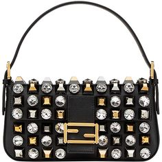Fendi Baguette shoulder bag (4837610 IQD) ❤ liked on Polyvore featuring bags, handbags, shoulder bags, black, fendi handbags, fendi shoulder bag, fendi purse, leather handbags and white shoulder bag