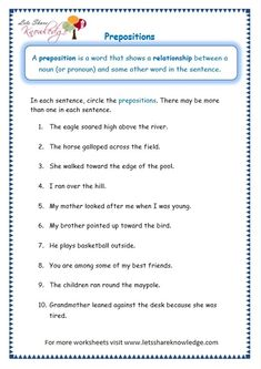 Grade 3 Grammar Topic Prepositions Worksheets - Lets Share Knowledge Picture Graph Worksheets, Parts Of Speech Worksheets, Worksheets For Grade 3, Cursive Writing Worksheets, Spelling Worksheets, School Worksheets, Prepositions Worksheets, Coloring Worksheets, Teaching English Grammar