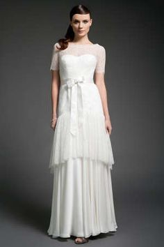 Sleeves, lace + tiers make for one gorgeous gown from Campodoro.