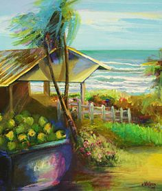 Trinidad Painting - Coconuts By The Beach by Cynthia McLean