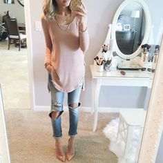 like the soft colors and casual feel of ripped jeans but I can't handle stilletos on weekends running around. Any other shoe ideas?