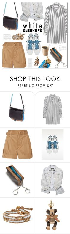"""Bright White Sneakers"" by mada-malureanu ❤ liked on Polyvore featuring DUDU, Caroline Constas, Marc Jacobs, Versace, Chan Luu, Burberry, whitesneakers, Dudu and dudubags"
