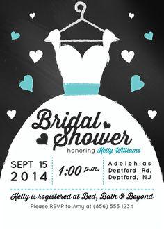 Chalkboard Gown Bridal Shower Invitation (Digital File) on Etsy, $15.00