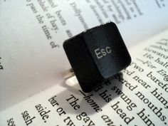 Keyboard Ring. €6.00, via Etsy. Or get three rings,  Ctrl, Atl, Del.  And make knuckles out of them.  EPIC