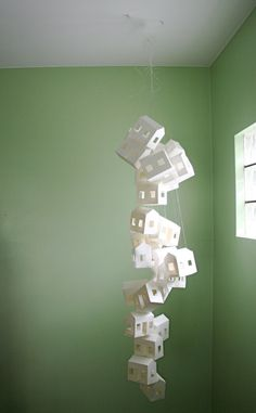 Paper House Mobile in White