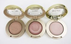 Bella Eyes Gel Powder - Milani Eyeshadow Swatches Madarin, taupe, cappuccino, champagne