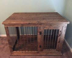 Beautifully crafted home for your pet! This kennel/table serves as a dual functioning piece of furniture. This eliminates the need of moving a large crate around to save space! This unit is wrapped in steel round bar, which not only will last, but gives it a clean look. Finished with a beautiful stain color of your choosing & tough finish, this kennel will last for years to come and be the perfect conversation starter! Can be custom made to fit any space!  Each kennel is built to ord...