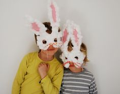 Easter Craft: Paper Bunny masks. - even cuter than the masks we made last year!!