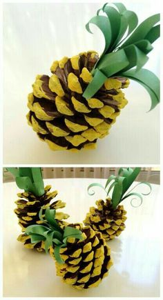Turn pine cones into pineapples! A fun DIY summer craft for the kids that would make cute  summer decorations.