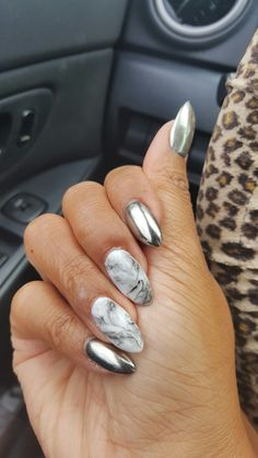 NAILS: silver chrome and grey marble
