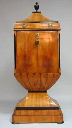 Biedermeier Fruitwood and Ebonized Lacquer Secretaire à Abattant, Early 19th C.