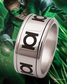 green lantern spinning ring steel like the simple design - Green Lantern Wedding Ring