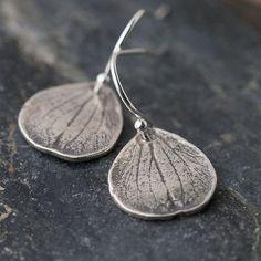 Silver Petal Earrings / Rustic Botanical Jewelry / Small Sterling Silver Earrings on Etsy, $23.00