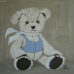 Tableau peinture nounours décoration chambre d'enfant