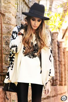 Black festival hat and Aztec sweater
