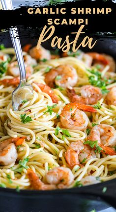 This garlic shrimp scampi pasta is so simple and delicious, you won't believe it only takes 25 minutes to make! A simple and delicious seafood dinner recipe! #simplyhomecooked #seafood #pasta #dinner #scampi #shrimp #shrimppasta Seafood Pasta Recipes, Shrimp Recipes For Dinner, Yummy Pasta Recipes, Shrimp Dishes, Seafood Dinner, Pasta Dishes, Cooking Recipes, Recipes With Cooked Shrimp, Healthy Shrimp Pasta