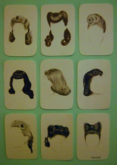 Old school hair cards for a salon in the 40's-50's